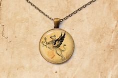 Antique pendant Fantasy jewelry Gryphon by SleepyCatPendants