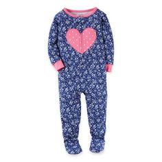 product image for carter's® Heart Zip-Front Footed Pajama in Navy