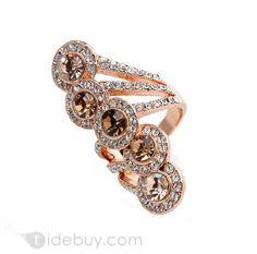 Bohemian Style Champagne Rhinestone Lady's Ring