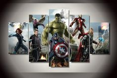 Avengers Marvel Comics Framed 5 Piece Canvas Five Panel Canvas Art Wall Art Home Decor For Her For H The Avengers, Avengers Room, Frames On Wall, Framed Wall Art, Wall Art Prints, Gustav Klimt, Canvas Artwork, Canvas Frame, Painted Ladies
