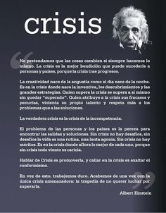 #Crisis según Albert #Einstein. #Frases #Quotes