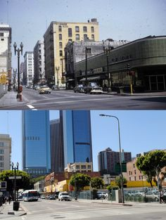 4th & Spring 1958 & 2014  Above rounded building is Grant Bldg 1898