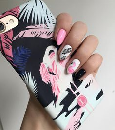 14 Nail Designs That You'll Want to Repeat - Flamingo nails design is so awesome! Cute Summer Nail Designs, Cute Summer Nails, Fun Nails, Gelish Nails Summer, Nails Summer Colors, Summer Toenails, Nail Summer, Colorful Nails, Summer Hair