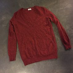 SALEMadewell Orange Wool Pullover Made by Wallace. Perfect for layering over button downs Madewell Sweaters V-Necks