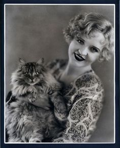 Phyllis Haver with her prize winning Maine Coon Kitty. She coddled her pets since her husband never wanted children