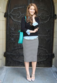 Just bought a midi striped pencil skirt--loving this styling.