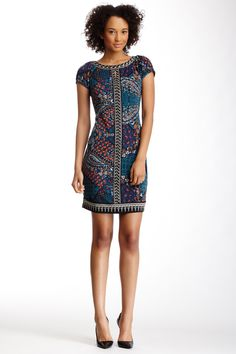 ECI | Beaded Scarf Print Dress | Nordstrom Rack