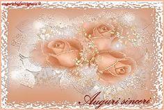 biglietti auguri con rose rosa e argento