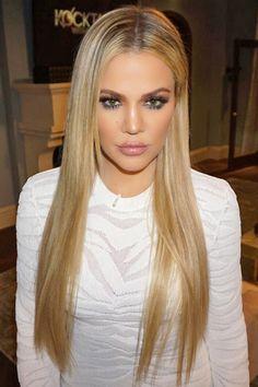 Khloe Kardashian long hair sleek hairstyle