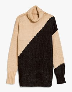 Cozy knit sweater from Farrow. Camel and Black colorblock design. Turtleneck collar. Dropped shoulders. Ribbed cuffs and hem. Long side slits. Relaxed fit.  • Chunky knit • 60% polyester, 40% acrylic • Dry clean