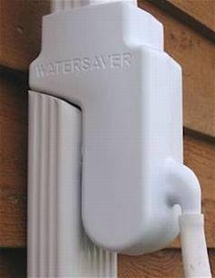 Watersaver Diverter mounted on downspout pipe - for rain barrels. www.rainbarrelman.com
