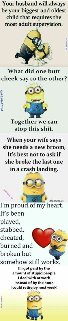 54 Ideas funny relationship mems hilarious minions quotes for 2019 New Funny Jokes, Memes Funny Faces, Funny Texts, Funniest Memes, Funny Minion, Funny Humor, Funny Babies, Funny Kids, Clean Memes