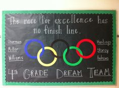 Olympics theme bulletin board.  Would be good for back to school this year!