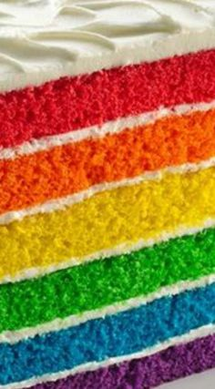 Rainbow Layer Cake ~ This colorful cake is a snap to pull together!