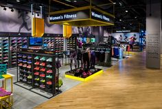 Design showcase: Technology benchmark set by Sun & Sand Sports - Retail Design World Shoe Store Design, Clothing Store Design, Retail Store Design, Retail Shop, Retail Displays, Visual Merchandising, Sportswear Store, Shoe Display, Store Interiors