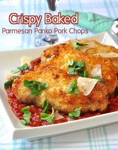 Crispy Baked Parmesan Panko Pork Chops - No need for frying, this oven baked, lower fat panko pork chops recipe is delicious served with pasta and your favorite simple marinara or puttanesca sauce.