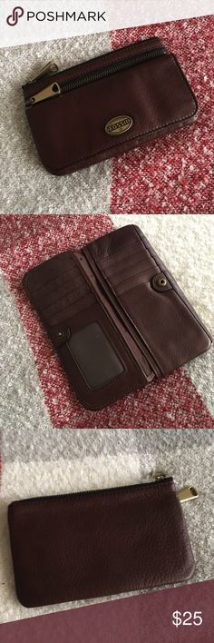 83ce96cc8572 Fossil leather wallet Excellent used condition. Super soft leather with  brass hardware. 2 zipper