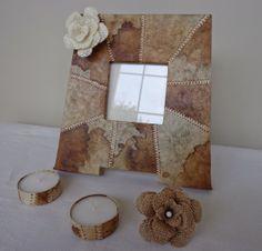 Portafotos con filtros de café y Tutorial flor de arpillera