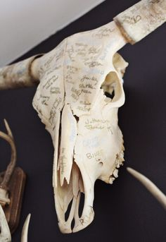 I LOVE this idea. Have guests sign something that can hang in your home, such as a cow skull (: