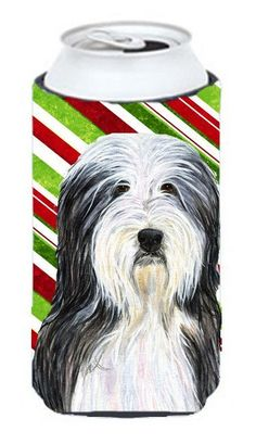 Bearded Collie Candy Cane Holiday Christmas Tall Boy Beverage Insulator Beverage Insulator Hugger