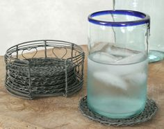 Wire Coaster Set of 6 with Stand Primitive Crafts, Primitive Decorations, Kitchen Dining, Kitchen Decor, Country Kitchen, Coaster Set, Glass Of Milk, Candle Holders, Wire