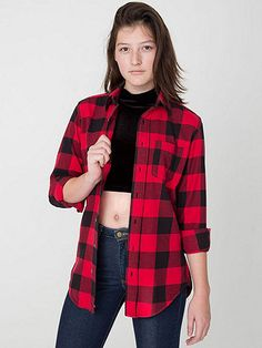Unisex Brushed Plaid Cotton Twill Long Sleeve Button-Up with Pocket | American Apparel