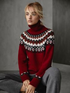 2019 Autumn Winter High-Neck Jacquard Sweater Women Red S Fair Isle Pullover, France Mode, Fair Isle Knitting Patterns, Crochet Patterns, Pull Crochet, Icelandic Sweaters, Baby Hats Knitting, Sweater Weather, My Outfit