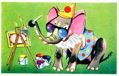 Gratulasjonskort BRATLIE, GUNNAR. Elefant maler på lerret. Ubrukt 1968 Utg Aune