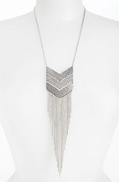 @Nordstrom   Silver Chevron Fringe Pendant Necklace. Under $20!! #silver, #necklace, #pendant, #chevron, #fringe, #chain, #jewelry, #accessories, #sale, #deal, #bargain. http://zodiacfashion.blogspot.com/