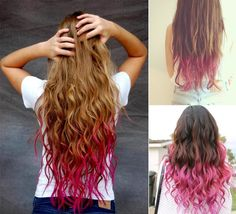 Dip-Dye Hair - Hair Color Trends for Women Pink can be a good match with blonde and purple is a good complimen for black. Dyed Curly Hair, Dye My Hair, Curly Hair Styles, Wavy Hair, Dyed Ends Of Hair, Colored Hair Ends, Messy Hair, Temporary Hair Color, Protective Hairstyles