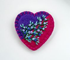 Felt Heart Brooch or Pin - Hand Embroidery on Purple and Magenta. $17.50, via Etsy.