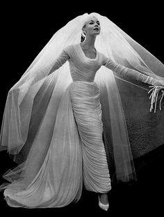 1957 Nina Ricci Wedding dress 50s 60s modern style vintage column sheath dress bustle train veil fashion forward unique