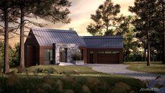 Les maisons métisses Adornetto Farmhouse Architecture, Modern Farmhouse Exterior, Lac Champlain, Gable Roof, My Dream Home, House Plans, Cabin, House Styles, Building