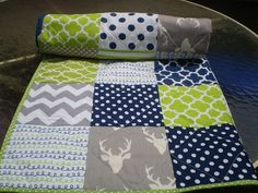 Baby quilt,navy,grey,lime green,Baby boy bedding,baby boy quilt,Patchwork Crib quilt,chevron,deer,rustic,woodland,toddler,stag,Buck Forest