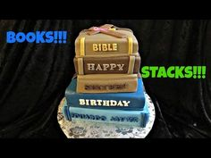 How to make a Book Stack Fondant Cake - YouTube
