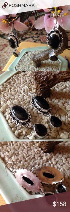 Vintage 925 black quartz earring Gorgeous marked 925 faced quartz Vintage Jewelry Earrings
