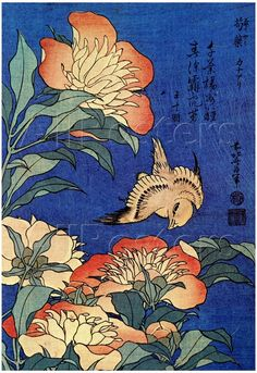 Peony and a canary 18630 Traditional Japanese painting engraving poster poster reproduction copy Katsushika Hokusai Japanese Painting, Chinese Painting, Chinese Art, Art Floral, Images D'art, Art Occidental, Art Chinois, Art Asiatique, Bird Poster