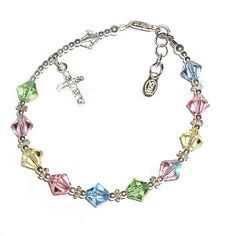 Girls Rosary Bracelet Sterling Silver Childrens Jewelry, This Beautiful Sterling Silver Rosary Bracelet Is Absolutely... $29.99 (save $25.01)