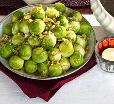 Spruce up your usual sprouts and add crunch and crispiness with a bread and almond-based topping. From BBC Good Food. Bbc Good Food Recipes, Holiday Recipes, Christmas Recipes, Vegetable Stock, I Want To Eat, Christmas 2015, Family Christmas, Christmas Stuff, Serving Dishes