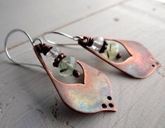 Copper Lotus Petal Earrings with Prehnite Beads by Lost Sparrow Jewelry