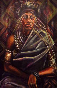 """The Art of Stephen Hamilton - """"Daquan as Babalu Aye"""" Acrylic On Paper"""