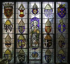 This stained glass window by Pugin is in St Chad's Cathedral in Birmingham. https://www.flickr.com/photos/35409814@N00/14448878504