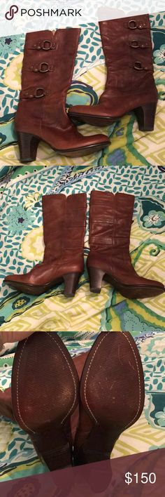 NWOT Frye Fiona 3 Strap Boots Women's NWTO Women's Fiona 2 Strap Boots.  Gorgeous Chesnut Brown Color.  Boots don't fit wide calves.  100% Leather 8.5 Medium.  Perfect for Fall and Winter! Frye Shoes Heeled Boots
