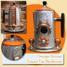 GadgetSponge.com Upcycled Percolator Coffee Pot with Orange Accents Birdhouse