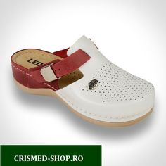 Saboti medicali Leon PU901 Alb cu Rosu - DAMA Mary Janes, Clogs, Shopping, Fashion, Moda, Fashion Styles, Fashion Illustrations, Fashion Models