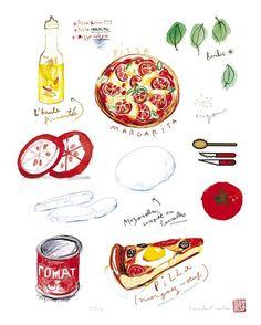 Food art, Pizza recipe, Kitchen decor, illustration, 8X10, poster, tomato, Italian food, cooking. $25.00, via Etsy.