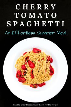 Cherry Tomato Spaghetti is an effortless summer meal with juicy sweet tomatoes tossed with hot pasta, fresh oregano, garlic, a splash of red wine vinegar, and peppery olive oil. It's deliciously simple, super fast to make, and takes only a handful of ingredients. #saucyrabbiteats #dinnerideas #pasta #spaghetti #cherrytomatoes #summermeals #easypasta #vegetarian
