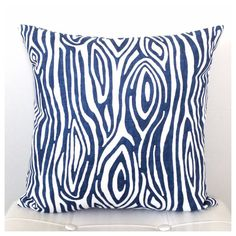 Blue and White Decorative Pillow Cover - Blue Wood Grain Pattern - Modern Blue Pillow - Navy blue Accent Pillow