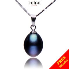 22,80$ Hot sale Women's Silver Chain necklace pendant 9 10mm black freshwater pearl necklaces & pendants for women-in Chain Necklaces from Jewelry ...