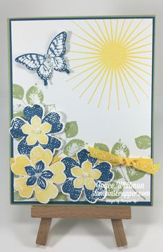 I used the following retiring stamp sets from Stampin' Up! on this card:Kinda Eclectic, Papillon Potpourri, Petite Petals and current stamp set Flower Shop.  I also used the retiring punches:Elegant Butterfly and Petite Petals.  The Pansy punch is still current.  I used the new Double Stitched Ribbon from the 2017-2018 Annual Catalog in Daffodil Delight.